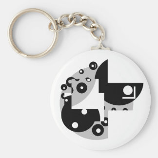 Abstract Circles Basic Round Button Key Ring