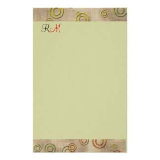 Abstract Circles Monogrammed Stationary-Mint Green Custom Stationery