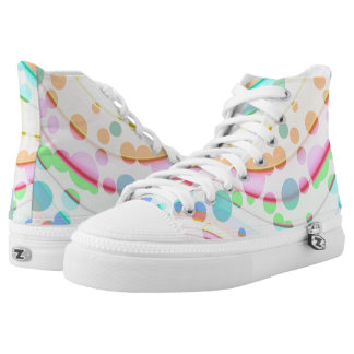 Abstract Circles On High Top Shoes Printed Shoes