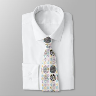 Abstract Circles Pattern Black & Pastel Colors Tie