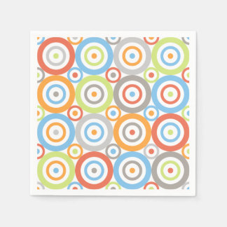 Abstract Circles Pattern Colour Mix & Greys Disposable Serviette