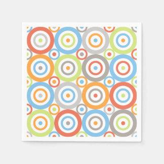 Abstract Circles Pattern Colour Mix & Greys Paper Napkin