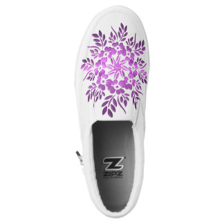 abstract circles purple floral mandala. Slip-On shoes