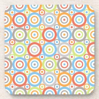 Abstract Circles Repeat Ptn Colour Mix & Greys Coaster