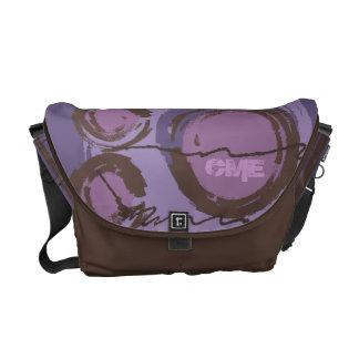 Abstract Circles Urban Monogram Purple Brown Commuter Bag