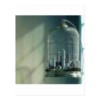 Abstract City Bird Cage Postcard