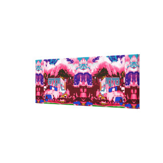 Abstract City-scape Decorated for Festivals Xmas Stretched Canvas Prints