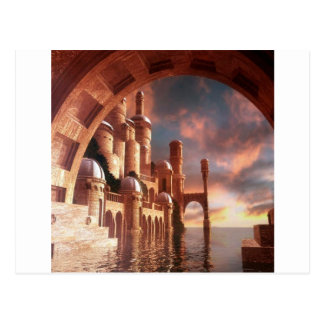 Abstract City Sea Stone Postcard