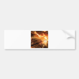 Abstract City Space Battle Bumper Sticker