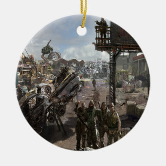 Abstract City Survival Round Ceramic Decoration