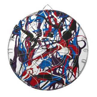 Abstract clock blue, red, black, white. Modern. Dartboards