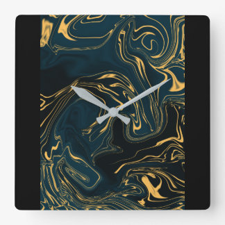 Abstract Clock Square - Turquoise Journey