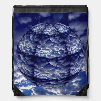 Abstract cloud 3D sphere Drawstring Bag