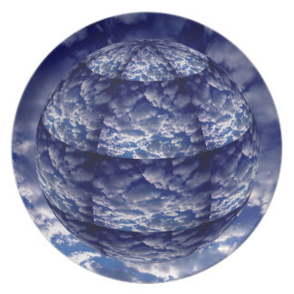 Abstract cloud 3D sphere Party Plate