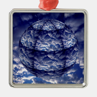 Abstract cloud 3D sphere Silver-Colored Square Decoration