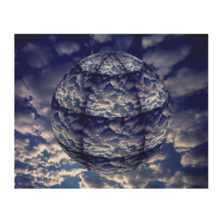 Abstract cloud 3D sphere Wood Wall Decor