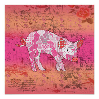 Abstract Collage Gabby the Pig ID111 Poster