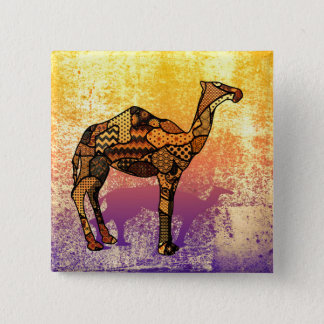 Abstract Collage Ozzy the Camel ID102 15 Cm Square Badge