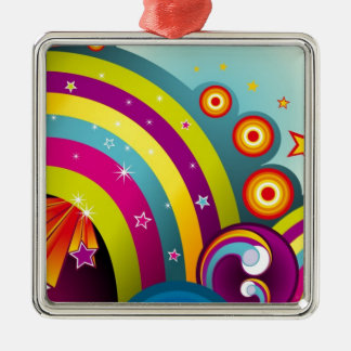 Abstract Colored Circles and Star and Rainbows Silver-Colored Square Decoration