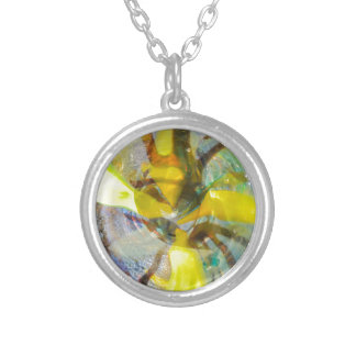 abstract colored glasses silver plated necklace