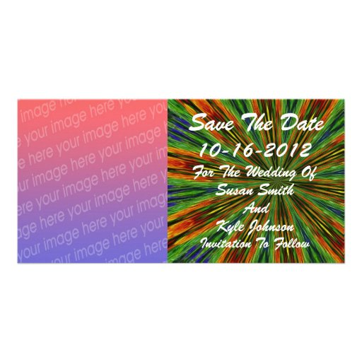 Abstract Colored Rays Photo Wedding Save Date Photo Card