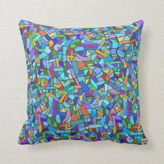 Abstract Colorful Blue Mosaic Pattern Cushion