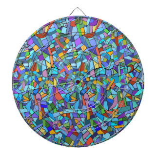 Abstract Colorful Blue Mosaic Pattern Dartboard