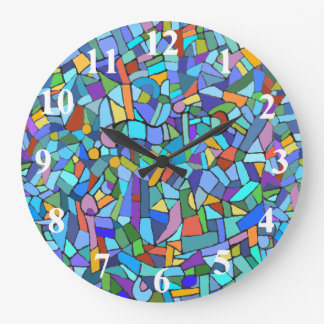 Abstract Colorful Blue Mosaic Pattern Large Clock