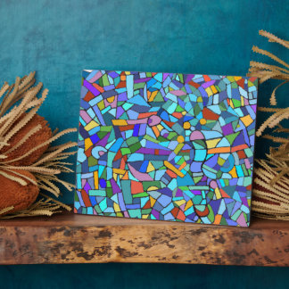 Abstract Colorful Blue Mosaic Pattern Plaque