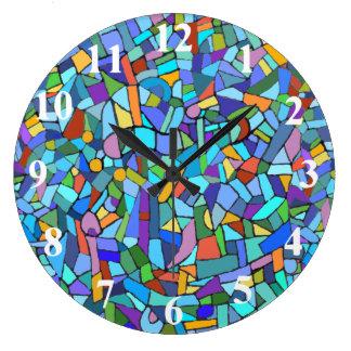 Abstract Colorful Blue Mosaic Pattern Wall Clocks