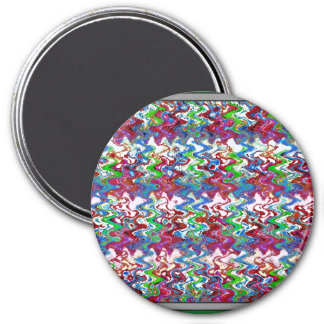 Abstract Colorful Embossed Dancing Wave Art Gifts 3 Inch Round Magnet