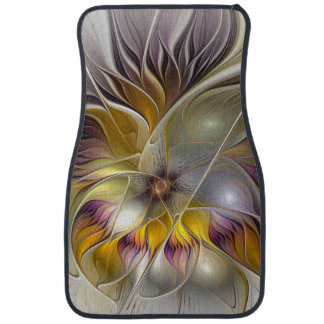 Abstract Colorful Fantasy Flower Modern Fractal Car Mat