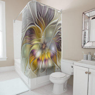 Abstract Colorful Fantasy Flower Modern Fractal Shower Curtain