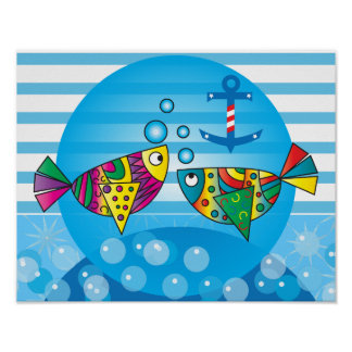 Abstract Colorful Fishy Poster