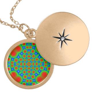Abstract colorful hearts and circle pattern lockets