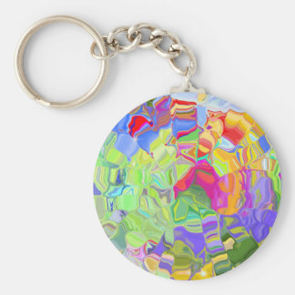 Abstract Colorful Ice Cubes Keychain Basic Round Button Keychain