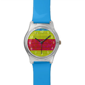Abstract colorful line fabric pattern watch