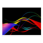 Abstract Colorful Lines and Waves Pattern Post Cards