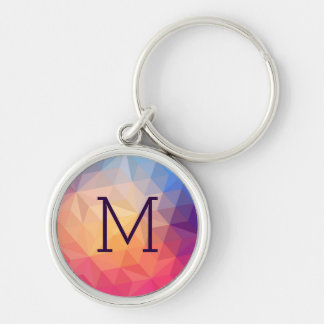 Abstract Colorful Modern Geometric Pattern Silver-Colored Round Key Ring