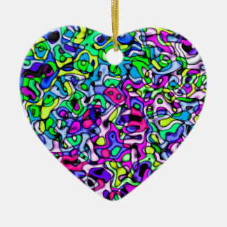 Abstract colorful pattern ceramic heart decoration