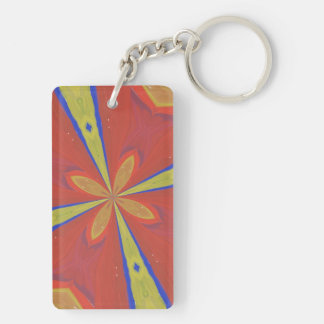 Abstract colorful pattern Double-Sided rectangular acrylic key ring
