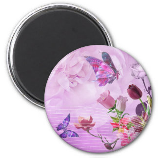 Abstract Colorful Pink Purple Cute Butterfly 6 Cm Round Magnet