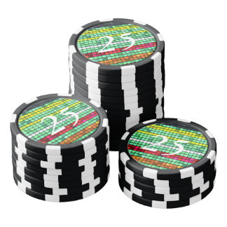 Abstract  Colorful quilt fabric Poker Chips