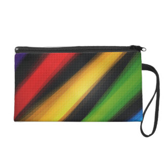 Abstract Colorful Rainbow Stripes Bagettes Bag Wristlet Clutches