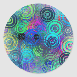 Abstract Colorful Rings Round Sticker