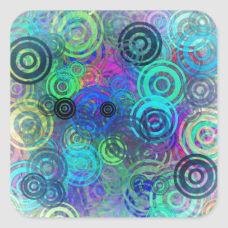 Abstract Colorful Rings Square Sticker