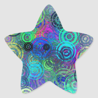 Abstract Colorful Rings Star Sticker