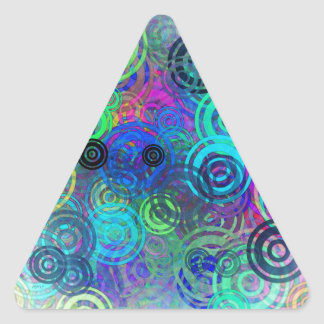 Abstract Colorful Rings Triangle Sticker