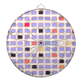 Abstract Colorful Squares Mondrian Alike Art Style Dartboard With Darts