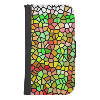 Abstract colorful stained glass samsung s4 wallet case